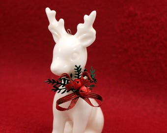 White Reindeer Deer Christmas Ornament Figurine Porcelain w Red Green Neck bow