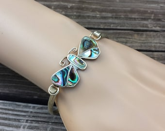 Abalone Butterfly Cuff Vintage Bracelet Marked Taxco Mexico