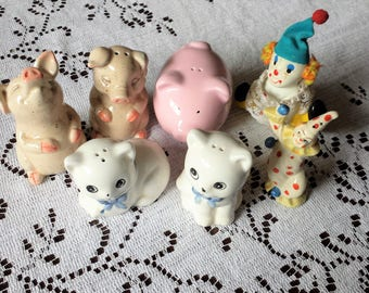7 Broken Ceramic Vintage Figurines, Salt Pepper Shakers, Pigs, Cats, Clowns, Altered Arts
