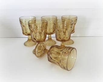 Amber Wine Glasses, Set of 6, Mid Century Modern Barware, Fairfield by Anchor Hocking, Boho Wedding