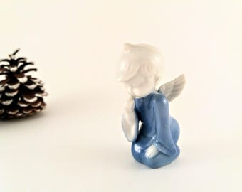 Vintage Porcelain Ceramic Christmas Angel Figurine, Made in Japan, Blue and White Christmas Angel Figurine Sucking Thumb, Christmas Decor