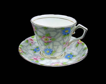 Vintage Chintz Teacup and Saucer Sampson Smith Longton Numbered Made In England Royal Bone China