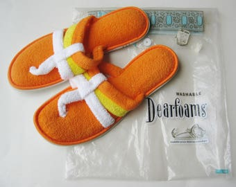 Vintage 60s Orange Terrycloth Mod NOS Deadstock House Slippers Shoes size 8 / 9