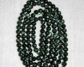 Seraphinite, Smooth Seraphinite, Seraphinite Bead, Natural Stone, Round Bead, Gemstone, SemiPrecious, Green Stone, Half Strand, 8mm, Russia