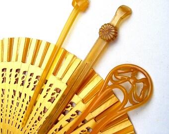 Three vintage Japanese Kanzashi hair pins Geisha hair pick hair fork hair accessory hair ornament (AAI)