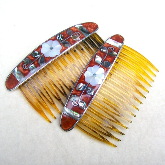 2 decorative hair combs vintage mexican abalone mother of - Decorative hair slides ...
