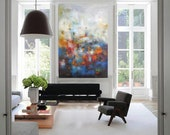 """XL Abstract painting Modern giclee canvas print wall art, 30""""x40"""" red turquoise navy painting, calming art, large blue pink canvas wall art"""