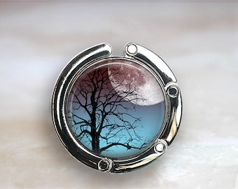 Moonrise Tree purse hook, full moon and tree purse hanger diaper bag hook  bridesmaid gift Mother's Day gift night sky