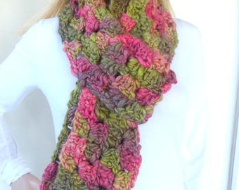 Green and Pink Scarf Colorful Winter Scarf Chunky Knit scarf Crochet Womens Scarf