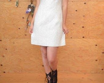 Vintage 60's Silver Bold Sleeveless Glam HourglassMini Dress SZ M