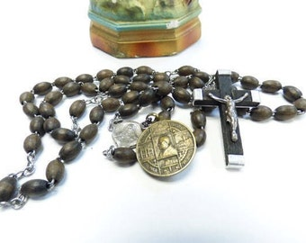 """Vintage Rosary wood beads cross crucifix brass Latin religious medal Prayer """"Ghost restore my Soul"""""""