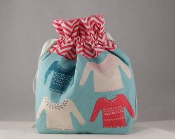 Knitting project bag small jumper sweater print sock shawl drawstring bag