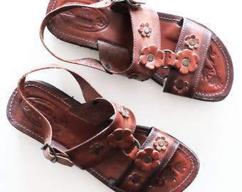 vintage 1970s hippie mexican leather wedge sandals size 9 / 9.5