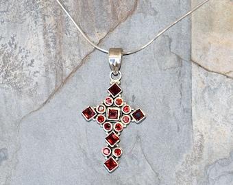 Garnet Cross Necklace, Garnet Necklace, Gemstone Necklace, Red Necklace, Burgundy Necklace, Holiday Necklace, Christmas Necklace, January,