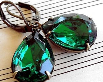 MOVING SALE On Sale Emerald Drops,Old Hollywood,Estate Style Emerald Drops Pear Shaped  GlassJewel Earrings