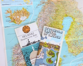 Scandinavia Tourist Maps 1970s Travel Souvenirs Paper Ephemera Lot