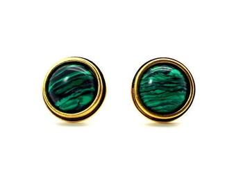 Green Malachite Cufflinks 2 – Green Cufflinks 16mm Round Malachite Cufflinks