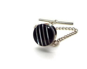 Stripes - Black and White Mother of Pearl and Onyx Tie Tack – Black and White Tie Tac – Black and White MOP and Onyx Tie Tac