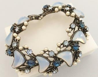Florenza Bracelet, Vintage Jewelry, Faux Moonstone Bracelet, Blue Bracelet, Pearl & Rhinestone Bracelet, Vintage Bracelet, Florenza Jewelry