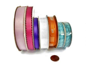 Satin Ribbon Lot Assortment 7 Spools New and Pre Own 4 Ounces Gift Wrap Craft Supply, Assorted Color Ribbon