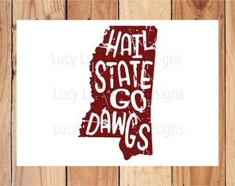 Distressed State - Hail State Go Dawgs