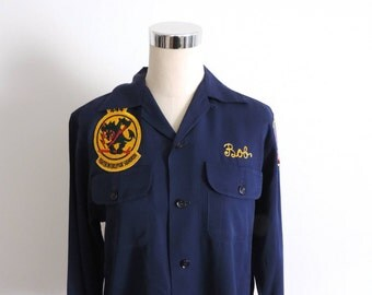 1950s Bowling Shirt Embroidered Sixataf Air Force