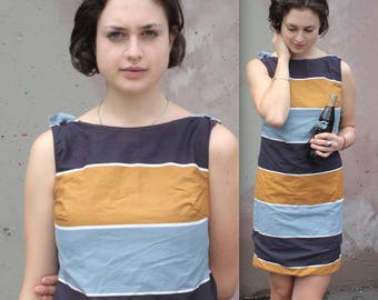Vintage 1960's Dress // 60s Navy, Blue. White and Tan Striped Mod Shift Dress // Sleeveless Cotton Summer Dress with Button Straps