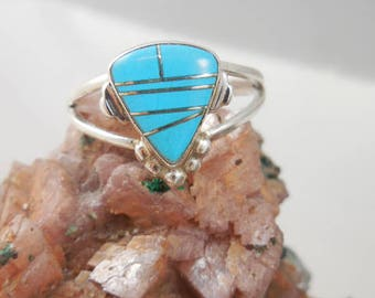 Vintage Zuni Native American Inlaid Turquoise Sterling Ring