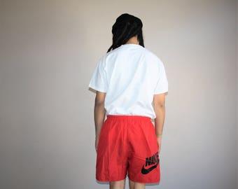 1990s Vintage Nike Swoosh Red Minimalist Swim Trunk Shorts - Vintage Nike Shorts - 90s Clothing - MV0214