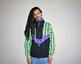 Full Force Clothing IOU VTG 90s Hip Hop Rap Rapper Graphic Neon Tribal Graphic Jacket -  90s Windbreaker  - 1990s Windbreaker - MV0417