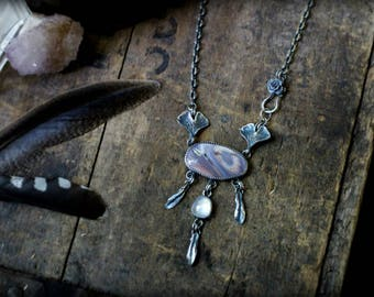 Soul Healer's Necklace - Imperial Jasper, Rose Cut Rainbow Moonstone, & Cast Nature, Sterling and Fine Silver - Gingko Leaves, Succulent