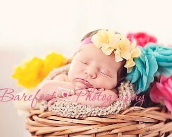 yellow baby headband, Newborn Headband, Baby Headband