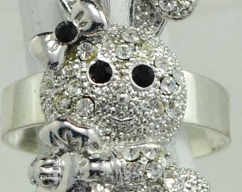 Easter for teens etsy petite easter bunny ringsilverrhinestonegift for heradultteens negle Gallery