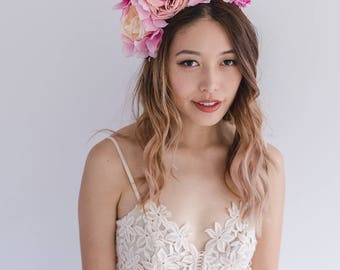 spring flower crown // spring racing flower headpiece / spring carnival headpiece / spring races flower fascinator / pink flower crown