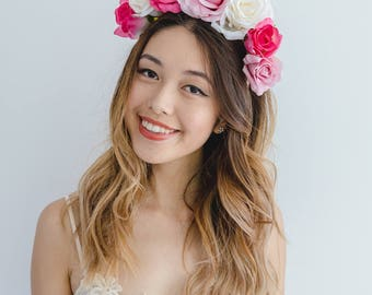 hot pink flower crown fascinator // spring flower crown / spring racing flower headpiece / spring carnival races
