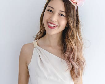 peach pink flower crown headband // spring racing statement flower crown / spring races flower crown headband / flower fascinator bohemian