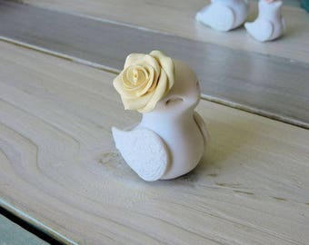 Little Girl Bird with Rose Handmade Home Decor Figurine