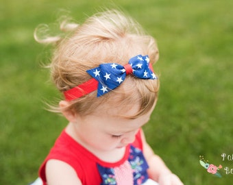 Royal Blue July 4th Baby Headbands, 4th of July Headband, Baby Girls Headbands, Baby Bow Headbands,  Toddler Hair Bow, Bow Headband Set
