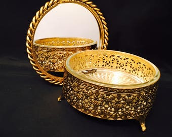 Stylebuilt Powder Jar Mirrored Lid Round Gold Filigree Vintage Style Built Vanity Box