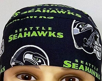 Seahawks Skull Cap, Chemo Cap, Handmade, Football, Seattle Seahawks, Helmets, Hair Loss, Motorcycle, Head Wear, Surgical Hat, Do Rag, Scrub