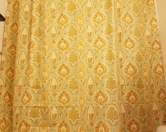 "Extra Long Shower Curtain, Ikat, Southwest, seafoam green, gold, leaves, Bathroom, 72"" Wide x 82"" Long"