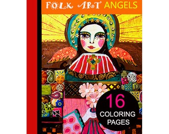 16 Folk Art Angels Digital coloring book pages, adult coloring book, coloring pages, printable coloring pages by Heather Galler