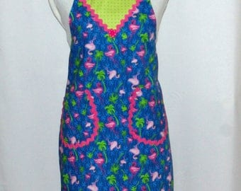 Pink Flamingo Petite Size Apron, Blue Green, Palm Trees, Custom Personalized With Name, No Shipping Fee, Ready To Ship TODAY, AGFT 1082
