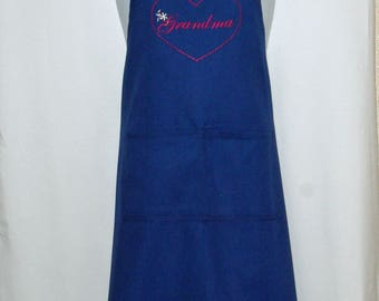 Grandma Apron, Heart, Personalized With Grams, Mammy, Mimsy, Grammie, Grans, Custom Gift From Grandkids, Ready To Ship TODAY, AGFT 1104