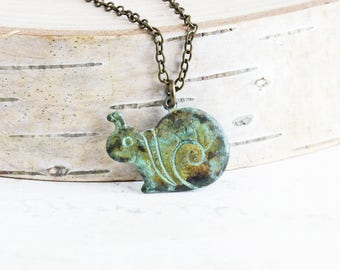 Aged Patina Little Snail Pendant Necklace on Antiqued Brass Chain