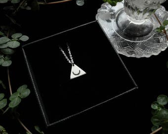 Pyramid Amulet. Bespoke, custom (sterling silver, your choice of design - ankh, moon, arrow)