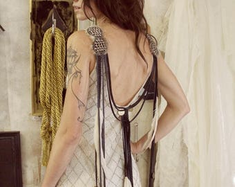 Cleopatra Leather and Feather Bridal Gown / Ceremonial Luxury Wedding Dress