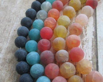 AGATE BEADS Natural Effervescence 5 Strands 10mm Round (195 Beads total) - lot of mixed colors