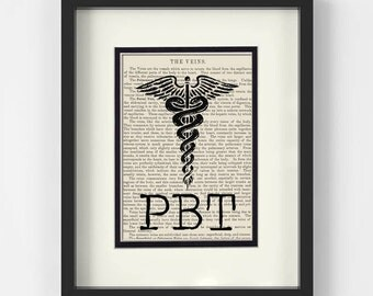 PBT, Phlebotomy Technician, over Vintage Medical Book Page