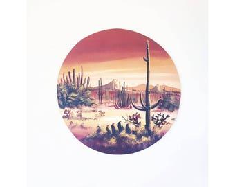 Vintage Circular Cactus Oil Painting